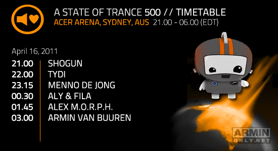 A state f trance 500 part 5 Sydney Australia download